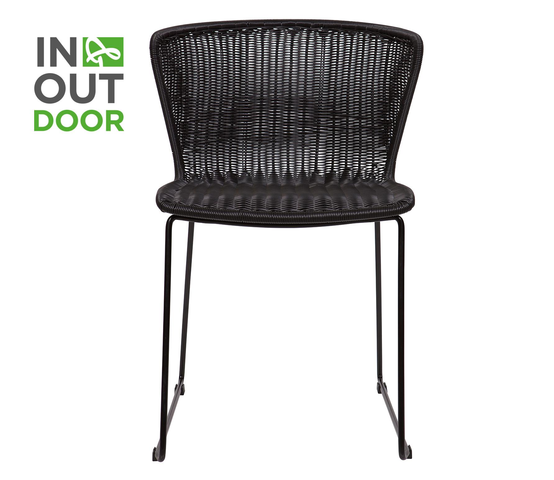 WOOOD Wings (binnen-buiten) stoel rotan zwart