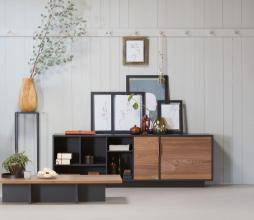 Afbeelding van product: WOOOD Exclusive James salontafel geschuurd grenen zwart/noten fineer