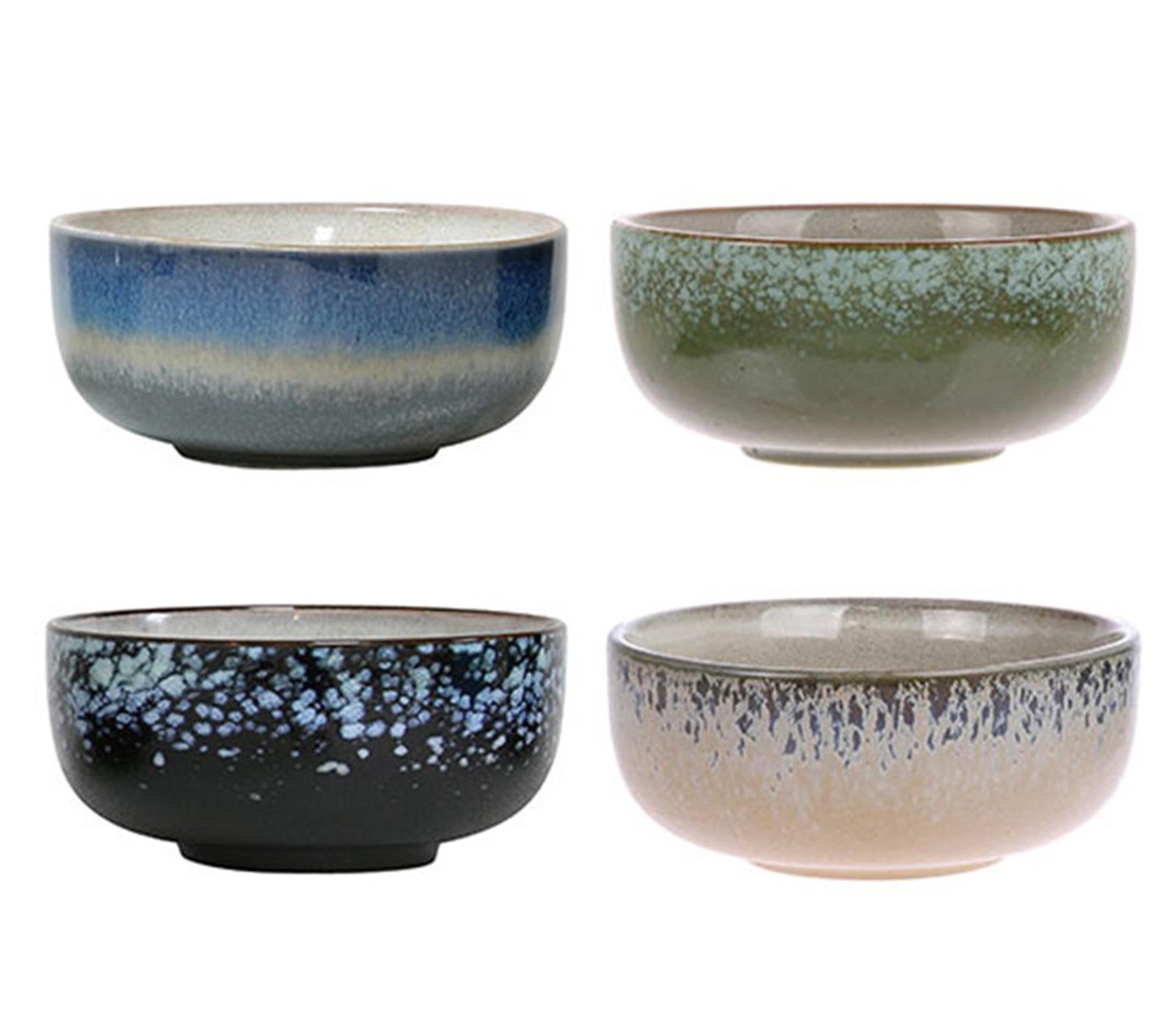 HKLiving set van 4 schaaltjes 70's keramiek multicolor