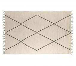 Afbeelding van product: Bereber vloerkleed 170x240 cm wol/katoen wit met zwart