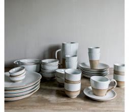 Afbeelding van product: Sandy kop en schotel Ø9 cm aardewerk wit/naturel
