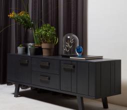 Afbeelding van product: BePureHome Watch TV meubel bezaagd grenen mat zwart