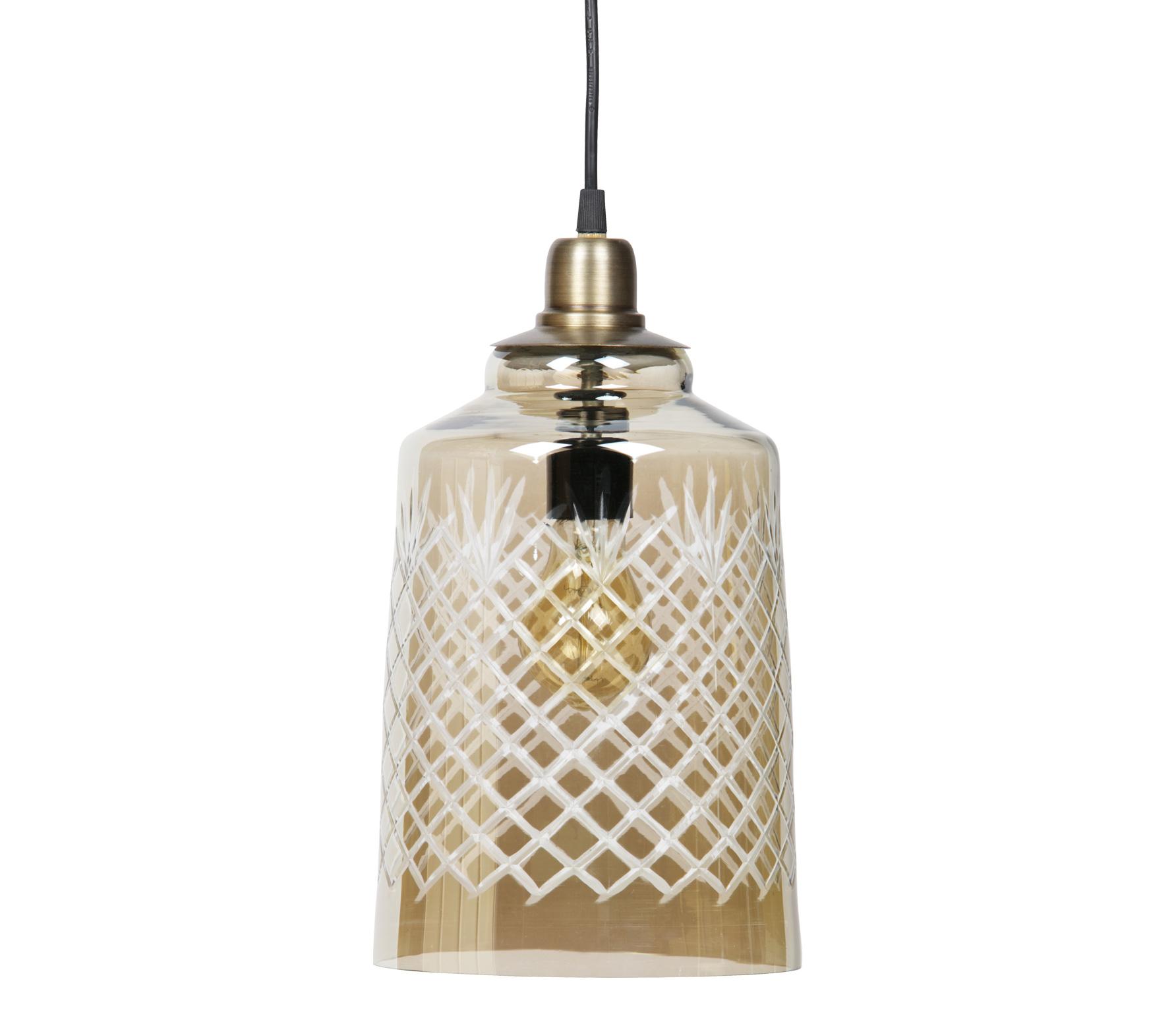 BePureHome Engrave hanglamp glas h33cm antique brass