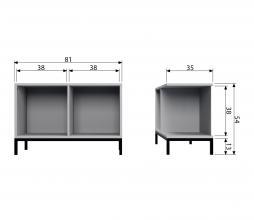 Afbeelding van product: vtwonen Lower case stapelkast 2 open vakken grenen betongrijs met onderstel