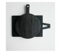 Afbeelding van product: HKLiving broodplank L rond sungkai hout zwart