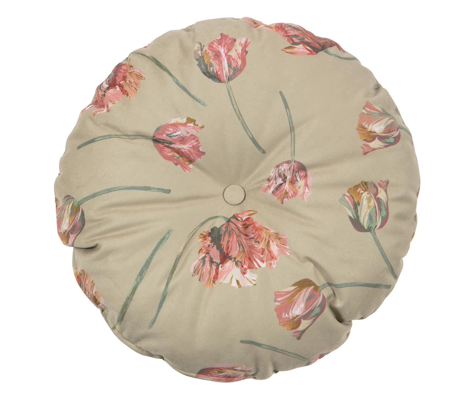 BePureHome Vogue Rococo kussen ø45 cm velvet agave zachtgroen