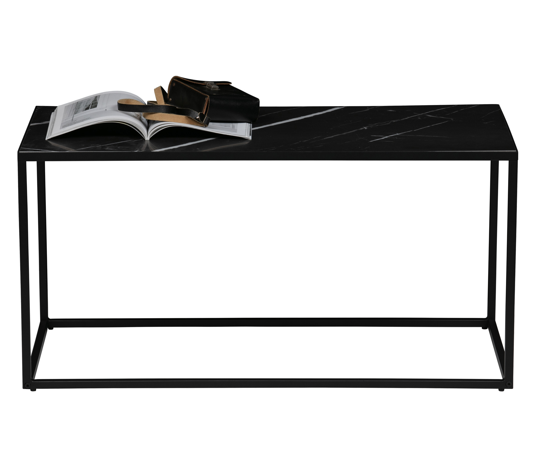 vtwonen Side bijzettafel L marmer look 90x45 cm zwart