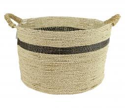 Afbeelding van product: Carlo mand zeegras naturel met streep L