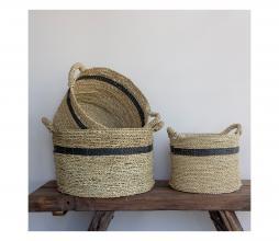 Afbeelding van product: Carlo mand set van 3 zeegras naturel met streep