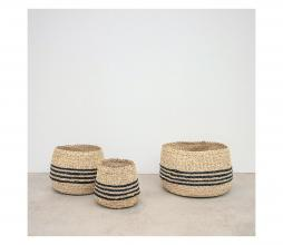 Afbeelding van product: Ted mand set van 3 zeegras/palmblad naturel met 3 strepen
