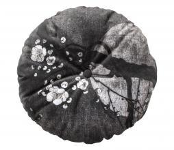 Afbeelding van product: BePureHome Night blossom kussen rond velvet Ø45 zwart