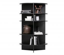 Afbeelding van product: WOOOD Exclusive Trian boekenkast rond geschuurd essenhout black night