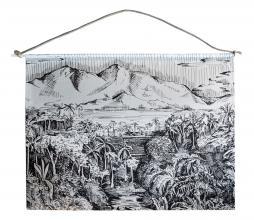 Afbeelding van product: Wanddoek Jungle landschap 140x140 cm katoen zwart/wit