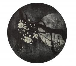 Afbeelding van product: BePureHome Night Blossom vloerkleed Ø150 cm antraciet