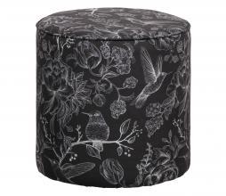 Afbeelding van product: Basiclabel Story poef velvet H46 x ø46 cm zwart met print