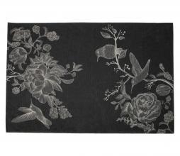 Afbeelding van product: Basiclabel Story vloerkleed 155x230 cm zwart met print