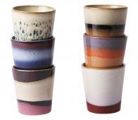 HKLiving 70's mokken set van 6 keramiek multicolor