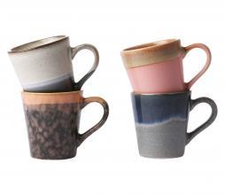 Afbeelding van product: HKLiving 70's espresso mokken set van 4 keramiek multicolor