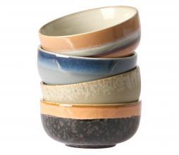 Afbeelding van product: HKLiving 70's medium schaaltjes set van 4 keramiek multicolor