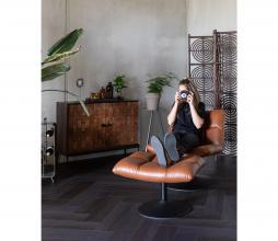 Afbeelding van product: Dutchbone Bar hocker op draaivoet PU leer vintage brown