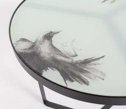 Afbeelding van product: BePureHome Fly bijzettafel met print metaal-glas H 50 x ø45 cm zwart