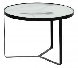 Afbeelding van product: BePureHome Fly bijzettafel met print metaal-glas H 38 x ø55 cm zwart