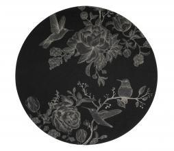 Afbeelding van product: Basiclabel Story vloerkleed ø200 cm zwart met print
