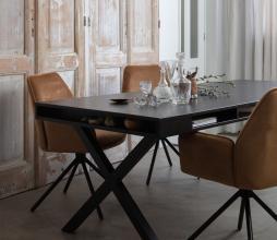 Afbeelding van product: WOOOD Exclusive Trian eettafel x-poot essenhout zwart