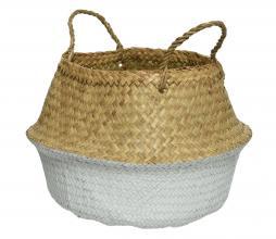 Afbeelding van product: Mand zeegras met hengsels naturel/wit