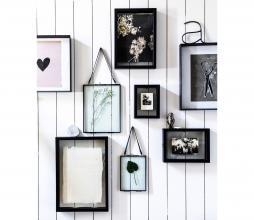 Afbeelding van product: vtwonen fotolijst zwart metaal met leren koord, div afmetingen 14x19 cm