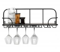 Afbeelding van product: WOOOD Hugo glazenrek hout metaal zwart
