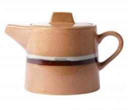 Afbeelding van product: HKliving Stream theepot keramiek perzik/bruin/wit