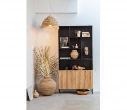 Afbeelding van product: WOOOD Exclusive Gravure hoge kast grenen/eiken zwart/naturel