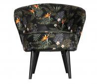 WOOOD Bo fauteuil velvet bloemprint zwart