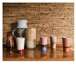 Afbeelding van product: HKliving 70's Latte set van 4 mokken keramiek multicolor