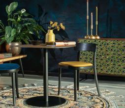 Afbeelding van product: Dutchbone Brandon stoel hout velvet zwart-oker