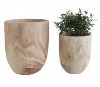 Selected by Nature decoratie potten set van 2 paulowniahout bruin