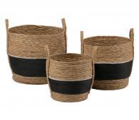 WOOOD Exclusive Alexa opbergmanden set van 3 naturel/zwart