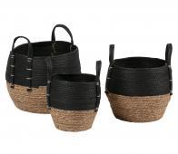 WOOOD Exclusive Amara opbergmanden set van 3 zwart/bruin