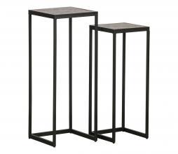 Afbeelding van product: WOOOD Vic plantentafels set van 2 hout/metaal bruin/zwart