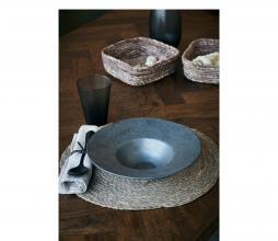 Afbeelding van product: House Doctor Pion pastabord Ø25cm porselein zwart/bruin