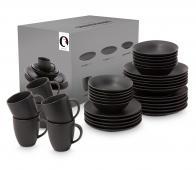 vtwonen 36-delige serviesset porselein zwart