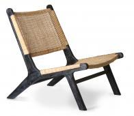 HKliving loungefauteuil webbing zwart/naturel