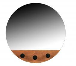 Afbeelding van product: WOOOD Tyler spiegel met haken ø40 cm mdf bruin/zwart