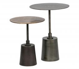 Afbeelding van product: BePureHome Crush bijzettafels set van 2 metaal antique brass/zilver
