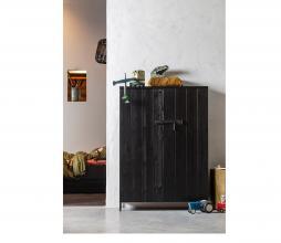 Afbeelding van product: WOOOD Bruut 2-drs kast 141x100x42 cm geborsteld grenen zwart