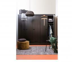 Afbeelding van product: WOOOD Connect 2-deurs kast 195x94x53 cm sleufgrepen grenen zwart