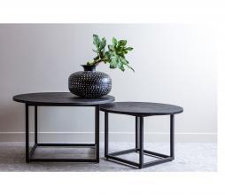 Afbeelding van product: WOOOD Enzo set van 2 bijzettafels metaal/hout zwart