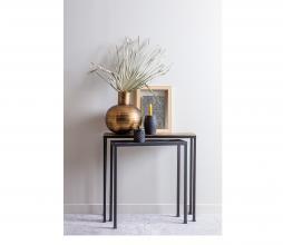 Afbeelding van product: WOOOD Exclusive Lane set v. 2 bijzettafels metaal antique brass/zwart