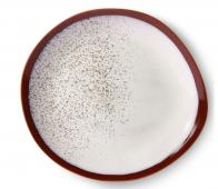 HKliving Frost 70's dinerbord Ø 29 cm set van 2 keramiek crème/rood